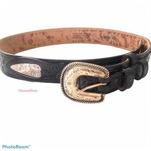 Justin Tooled Leather Belt Western Distressed